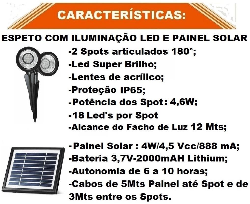 Kit Espeto Refletor Led Com Painel Solar Elektra Pronto R$ 1799  GR